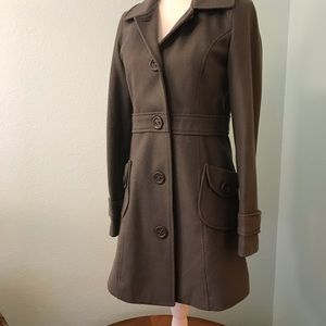 Tulle Gray Peacoat, set-in waist, two pocket